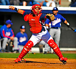 3 March 2009: Washington Nationals' catcher Javier Valentin in action against Italy during a Spring Training exhibition game at Space Coast Stadium in Viera, Florida. The Nationals defeated Italy 9-6. Mandatory Photo Credit: Ed Wolfstein Photo