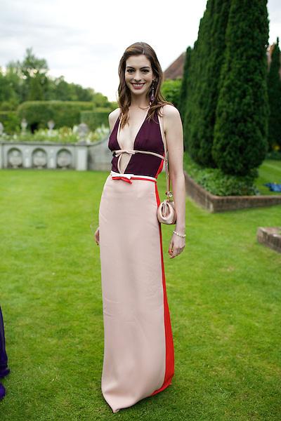 Anne Hathaway wears Prada at Elton John's White Tie and Tiara Ball