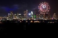 Fireworks firing over downtown Austin, Texas Skyline
