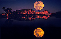 In Camera Composite with full moon rising over Rainbow Valley, Central Australia