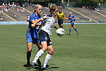 28 August 2011: Notre Dame's Ellen Jantsch (24) and Duke's Libby Jandl (3). The Duke University Blue Devils defeated the Fighting Irish of Notre Dame 3-1 at Fetzer Field in Chapel Hill, North Carolina in an NCAA Women's Soccer game.