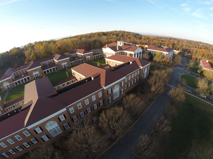 An aerial view of the Darden School of Business located at the University of Virginia in Charlottesville, VA. Photo/Andrew Shurtleff