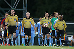 04 October 2016: Match officials. Assistant Referee Ross McKernan, Fourth Official Forrest Ambrose, Referee Carmen Serbio, and Assistant Referee David McPhun. The University of North Carolina Tar Heels hosted the UNC Wilmington Seahawks at Fetzer Field in Chapel Hill, North Carolina in a 2016 NCAA Division I Men's Soccer match. UNC won the game 1-0.
