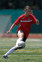 Aztec MA defender Carson Laderoute (24) controls the ball. In a Women's Premier Soccer League (WPSL) match, Aztec MA defeated CFC Passion, 4-0, at North Reading High School Stadium on July 1, 2012.