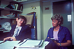 Professor Stephen Hawking Cambridge University in his office with his secretary Judy Fella. Cambridge UK. 31 July 1981.
