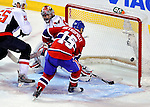 10 February 2010: Montreal Canadiens' center Glen Metropolit scores a second period goal on Washington Capitals goaltender Jose Theodore at the Bell Centre in Montreal, Quebec, Canada. The Canadiens defeated the Capitals 6-5 in sudden death overtime, ending Washington's team-record winning streak at 14 games. Mandatory Credit: Ed Wolfstein Photo