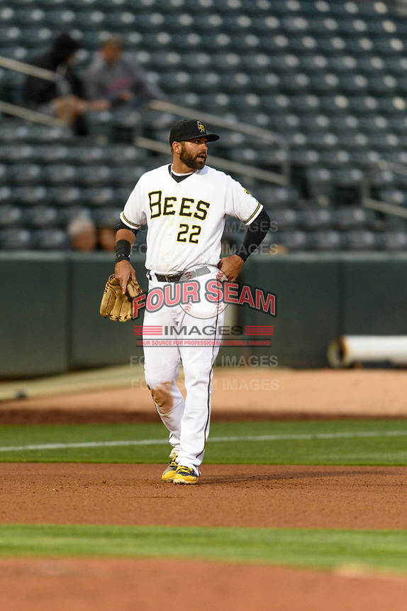 Kaleb Cowart (22) of the Salt Lake Bees on defense against the Sacramento River Cats in Pacific Coast League action at Smith's Ballpark on April 11, 2017 in Salt Lake City, Utah.  The River Cats defeated the Bees 8-7. (Stephen Smith/Four Seam Images)