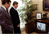 United States President Ronald Reagan, right, and U.S. Vice President George H.W. Bush, left, watch the lift-off of STS-3 the third flight of the Space Shuttle Columbia in Washington, D.C. on Monday, March 22, 1982..Mandatory Credit: Karl H. Schumacher - White House via CNP