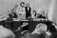 """Hotel Americana, New York City, USA. February 19th, 1971. William Powell, the author of """"The Anarchist Cookbook"""", during the press conference presenting his book."""