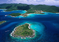 Aerial view of St John.Featuring Henley Cay and Caneel Bay.St John, Virgin Islands National Park