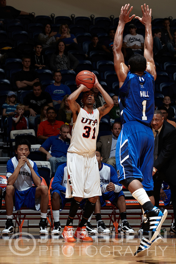 SAN ANTONIO, TX - FEBRUARY 23, 2011: The Texas A&M University Corpus Christi Islanders vs. the University of Texas at San Antonio Roadrunners Men's Basketball at the UTSA Convocation Center. (Photo by Jeff Huehn)