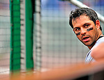24 May 2009: Baltimore Orioles' second baseman Brian Roberts sits in the dugout during a game against the Washington Nationals at Nationals Park in Washington, DC. The Nationals rallied to defeat the Orioles 8-5 and salvage a win in their interleague series. Mandatory Credit: Ed Wolfstein Photo