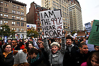 """UNITED STATES, NEW YORK,  November 17, 2011.Protesters affiliated with the Occupy Wall Street movement, march during a """"day of action"""" in New York November 17, 2011. VIEWpress /Kena Betancur..Protesters across the country demonstrated en masse Thursday, snarling rush-hour traffic in several major cities and taking aim at banks as part of a national """"day of action"""" to mark the two-month milestone of the Occupy Wall Street movement..Local media report.."""