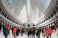 The partially finished World Trade Center Transportation Hub, known as the Oculus, opens to the public on Thursday, March 3, 2016. The over-budget, years late, $4 billion state-of-the-art transportation hub was designed by renowned architect Santiago Calatrava. When finished the hub will connect subway lines and PATH trains. (© Richard B. Levine)