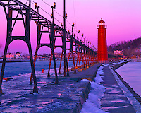 Grand Haven Lighthouse, Catwalk & Pier along Lakeshore, Lake Michigan, Grand Haven, Michigan