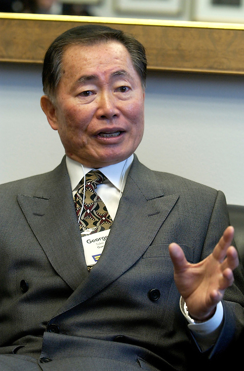 Actor George Takei talks to Rep. Henry Waxman, D-Calif., off camera, during a meeting with the Congressman and members of the Human Rights Campaign.  Members of the HRC were on the Hill with Mr. Takei to talk to Representatives about gay rights.