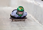 8 January 2016: Jaclyn Narracott, competing for Australia, crosses the finish line on her first run of the BMW IBSF World Cup Skeleton race at the Olympic Sports Track in Lake Placid, New York, USA. Mandatory Credit: Ed Wolfstein Photo *** RAW (NEF) Image File Available ***