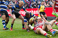 Aled Brew of Bath Rugby scores a try in the second half. Aviva Premiership match, between Bath Rugby and Gloucester Rugby on April 30, 2017 at the Recreation Ground in Bath, England. Photo by: Patrick Khachfe / Onside Images