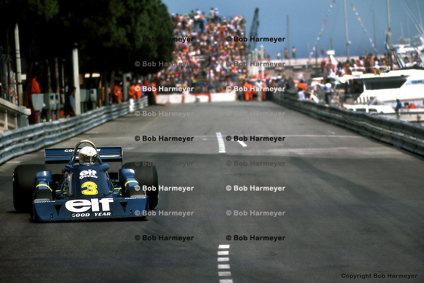 MONTE CARLO, MONACO - MAY 30: Jody Scheckter drives the Tyrrell P34 3/Ford Cosworth DFV during the Grand Prix of Monaco on May 30, 1976, on the temporary street circuit in Monte Carlo, Monaco.