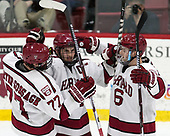 Lewis Zerter-Gossage (Harvard - 77), Alexander Kerfoot (Harvard - 14), Ryan Donato (Harvard - 16) - The Harvard University Crimson defeated the Yale University Bulldogs 6-4 in the opening game of their ECAC quarterfinal series on Friday, March 10, 2017, at Bright-Landry Hockey Center in Boston, Massachusetts.