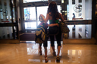 New York, NY - July 05, 2013 : Luke Spring, 10, with his sister Cami Spring, 20, go out for lunch during the New York City Dance Alliance National Summer Workshop held at the Sheraton New York Times Square Hotel in New York, NY on  July 05, 2013. Luke Spring, a dance prodigy from Studio Bleu Dance Center in Ashburn, VA, has performed on the Tonys, Ellen, So You Think You Can Dance and The Ford Gala. His sisters Cami Spring, 20, and Lucy Spring, 18, are both award winning dancers. (Photo by Melanie Burford/Prime for The Washington Post)
