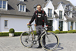 John Degenkolb (GER) Trek-Segafredo with his cafe racer custom Trek Domane at a press conference the upcoming Paris-Roubaix race, Bruges, Flanders, Belgium. 7th April 2017.<br /> Picture: Eoin Clarke | Cyclefile<br /> <br /> <br /> All photos usage must carry mandatory copyright credit (&copy; Cyclefile | Eoin Clarke)