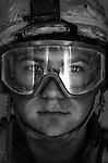 Lcpl. Justin Sharatt, 21, Granger, Indiana, Third Platoon, Kilo Company, 3rd Battalion, 1st Marines, 1st Marine Division, United States Marine Corps, at the company's firm base in Hit, Iraq on Friday Sept. 23, 2005.