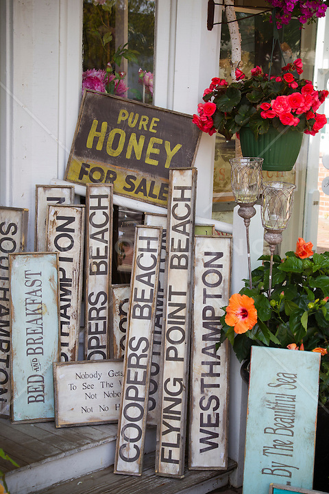 collection of signs in The Hamptons