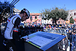 Tom Dumoulin (NED) Team Sunweb at sign on before the start of Stage 4 of the 2017 Tirreno Adriatico running 187km from Montalto di Castro to Terminillo, Italy. 11th March 2017.<br /> Picture: La Presse/Gian Mattia D'Alberto | Cyclefile<br /> <br /> <br /> All photos usage must carry mandatory copyright credit (&copy; Cyclefile | La Presse)