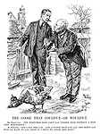 """The Goose that Couldn't - or Wouldn't. Mr Bonar Law. """"The wretched bird can't lay golden eggs without a nice long moratorium."""" M. Poincare. """"And I say she can. And a goose that can lay and won't lay must be made to lay - even if I have to wring her neck!"""""""
