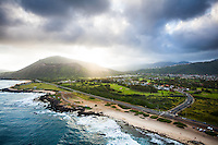 An aerial view of Sandy Beach with a big ray of light shining down over Koko Crater, East O'ahu.