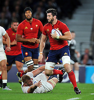 Loann Goujon of France  in possession. QBE International match between England and France on August 15, 2015 at Twickenham Stadium in London, England. Photo by: Patrick Khachfe / Onside Images