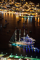 Ships in the harbor at night<br />
