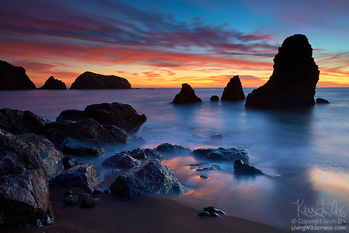 Fiery Sunset Over Sea Stacks, Rodeo Cove, Marin Headlands, California