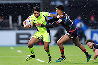 Denny Solomona of Sale Sharks fends Nathan Earle of Saracens. Aviva Premiership match, between Saracens and Sale Sharks on February 25, 2017 at Allianz Park in London, England. Photo by: Patrick Khachfe / JMP