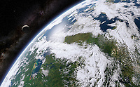 Digitally manipulated image of Hudson Bay from space