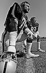 Oakland Raiders training camp August 10, 1982 at El Rancho Tropicana, Santa Rosa, California.   Oakland Raiders linebacker John Matuszak (72) and linebacker Ted Hendricks (83).