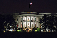 South Portico of the White House is lit up during the BET&rsquo;s &ldquo;Love and Happiness: A Musical Experience&rdquo; performance on the South Lawn of the White House in Washington, DC on Friday, October 21, 2016.<br /> Credit: Ron Sachs / Pool via CNP /MediaPunch