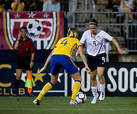 Heather O'Reilly, Linda Sembrant. The USWNT defeated Sweden, 3-0.