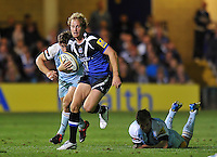 Nick Abendanon breaks through the Northampton Saints defence. Aviva Premiership match, between Bath Rugby and Northampton Saints on September 14, 2012 at the Recreation Ground in Bath, England. Photo by: Patrick Khachfe / Onside Images