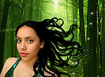 The face of a young woman with long black hair and stardust in the woods