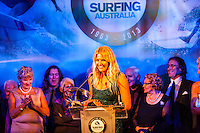 Darling Harbour, Sydney. (20th February, 2013): Stephanie Gilmore (AUS).  Australian surfing celebrated its champions tonight with Mark Richards and Stephanie Gilmore honoured at the Australian Surfing Awards in Sydney...The Awards marked a significant milestone in Surfing Australia's history as it celebrated its 50th Anniversary following its formation in 1963 as the Australian Surfriders Association and over 500 guests celebrated at the gala event. It was an unprecedented gathering of Australian surfing legends from the past 50 years...Four-times World Champion Mark Richards was named Australia's Most Influential Surfer 1963-2013, while five-times World Champion Stephanie Gilmore was inducted as the 35th member of the Australian Surfing Hall of Fame...The campaign to find Australia's 10 Most Influential Surfers 1963-2013 was conducted through a public vote and through votes provided by the members of the Australian Surfing Hall of Fame...The 10, in order of votes received, was: Mark Richards, Simon Anderson, Nat Young, Michael Peterson, Midget Farrelly, Tom Carroll, Layne Beachley, Wayne Bartholomew, Mark Occhilupo and Bob McTavish...Peter 'Joli' Wilson's photo of the wave Cloudbreak off Fiji during the enormous run of swell in June won the Nikon Surf Photo of the Year and Storm Surfers 3D featuring Ross Clarke-Jones and Tom Carroll was named the Nikon Surf Movie of the Year...2013 AUSTRALIAN SURFING AWARDS WINNERS..Australian Surfing Hall of Fame Inductee: Stephanie Gilmore.Australia's Most Influential Surfer 1963-2013: Mark Richards.Male Surfer of the Year: Joel Parkinson.Female Surfer of the Year: Stephanie Gilmore.Rising Star: Jack Freestone.Waterman of the Year: Jamie Mitchell.ASB Surfing Spirit Award: Misfit Aid.Peter Troy Lifestyle Award: Bob Smith.Surf Culture Award: The Reef - by the Australian Chamber Orchestra and Tura New Music.Simon Anderson Club Award: Kirra Surfriders Club.Nikon Surf Movie of the Year: Storm Surfers 3D.Nikon Surf Photo of the Year: