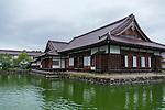 Photo shows the pond and main building of  Nishinkan in Aizuwakamatsu City, Fukushima Prefecture, Japan. Nishinkan was a school for the sons of the region's samurai. Photographer: Rob Gilhooly