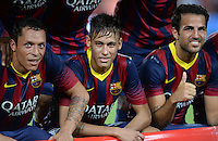 FUSSBALL  INTERNATIONAL   SAISON 2011/2012   02.08.2013 Gamper Cup 2013 FC Barcelona - FC Santos Adriano, Neymar und Cesc Fabregas (v.li. alle, Barca)