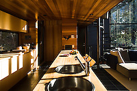 Like the dining area on the other side of the open plan living space, the kitchen is enveloped in cedar wood panelling