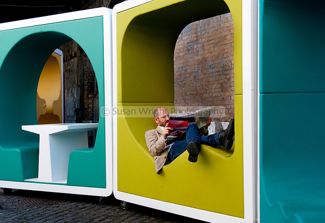 Time out, relaxing in the grounds of the Macro Contemporary Art Centre, Testaccio, Rome, Italy