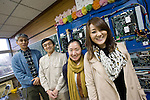 From right to left: Yukie Takeuchi, Mikiko (who asked for her family name not to be used), Yoshitsugu Saze and Masataka Suzuki of Smart Technology Partners pose for a photo inside what was once the principal's office of Akazawa elementary school in Aizu-misato town, Fukushima Prefecture, Japan on 20 April 2013.  Photographer: Rob Gilhooly