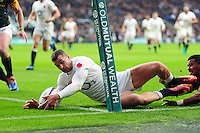 Jonny May of England scores a try in the first half. Old Mutual Wealth Series International match between England and South Africa on November 12, 2016 at Twickenham Stadium in London, England. Photo by: Patrick Khachfe / Onside Images