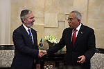 Palestinian Prime Minister Salam Fayyad meets with Brazilian foreign Minister Antonio Patriota, in the West Bank city of Ramallah on October 15, 2012. Photo by Issam Rimawi