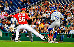 23 April 2010: Washington Nationals' pitcher Luis Atilano is unable to get Rafael Furcal out at first during a game against the Los Angeles Dodgers at Nationals Park in Washington, DC. The Nationals defeated the Dodgers 5-1 in the first game of their 3-game series. Mandatory Credit: Ed Wolfstein Photo